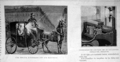 Antiguo Grabado - Old Gravure: UNA BERLINA ALUMBRADA CON LUZ ELECTRICA y...