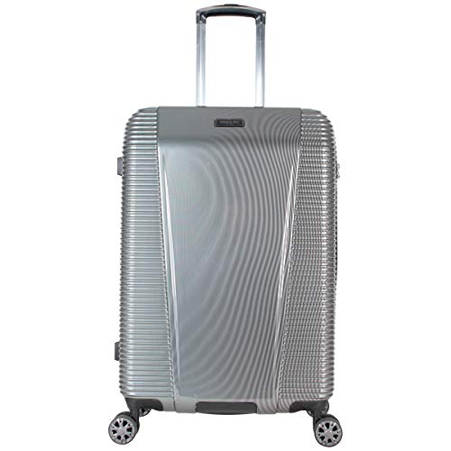 Kenneth Cole New York Sudden Impact 2.0 24' Hardside Expandable 8-Wheel Spinner Checked Luggage with TSA Lock, Silver/Black