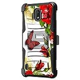 TurtleArmor | Kompatibel mit Nokia 3.1 C Hülle | Nokia 3.1 A Hülle [Hyper Shock] Fitted Armor Holster Gürtelclip Hybrid Cover Stand Shock Schutzhülle - Butterfly Roses