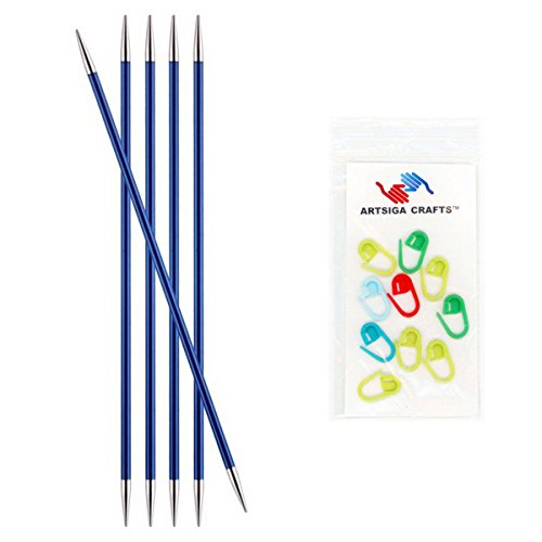 Knitter's Pride Knitting Needles Zing Double Pointed 6 inch Size US 6 (4mm) Bundle with 10 Artsiga Crafts Stitch Markers 140009