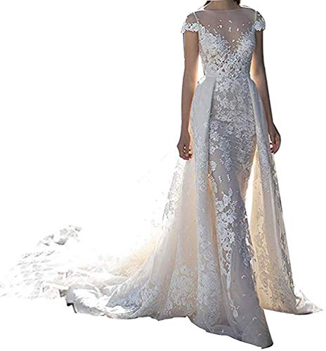 Jewel Lace Applique Mermaid Wedding Dresses with Detachable Train Bridal Ball Gowns Ivory, LIFU