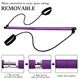 Kit de barre de pilates portable avec bande de résistance, longue barre de résistance, yoga, pilates, barre d'exercice pour...