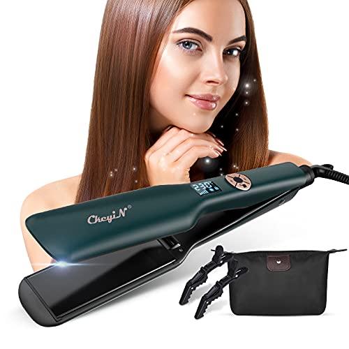 CkeyiN Glätteisen Breit, Haarglätter Haarglätter Haarpflege mit 44mm extra breiten Platten und digitalem LCD-Display,120-230°C,12 Temperatureinstellung,Tragbare Reise-Haarglätter,Grün