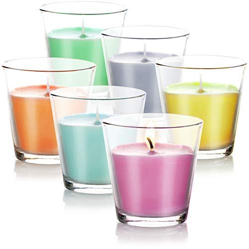 com-four® 6X Windlicht - Duftkerze im Glas - Outdoorkerze mit Zitronenduft - Gartenkerze für Balkon und Terrasse - 6 Farben