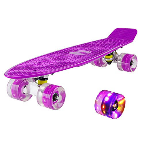 hausmelo Skateboard Mini Cruiser Retro Board Komplettboard für Anfänger Kinder Jugendliche und Erwachsene, 22 Zoll Komplett Board 57x16cm mit ABEC-7 Kugellager, LED PU Leuchtrollen, T-Tool (Violett)