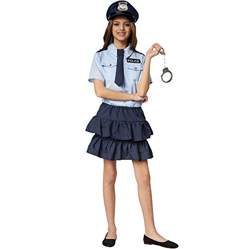 dressforfun 900268 - Mädchenkostüm Police Girl, kurzärmeliges Hemd mit Police-Aufnäher und zweistufig Geschnittener Minirock, inkl. Krawatte mit Gummizug (128 | Nr. 301481)