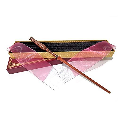 QKCX Baguette de métal de Base Assistant, Cosplay Accessoires Baguette Luna Lovegood Baguette Magique Magique Rod Baguette Assistant de Formation pour Les sorcières et magiciens,Red Box,36cm