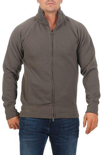 Herren Sweatjacke ohne Kapuze Zip-Jacke mit Kragen, Farbe:Anthrazit, Größe:4XL