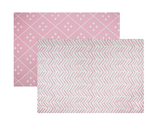 Baby Play Mat   One-Piece Reversible Foam Floor Mat   Large   Eco-Friendly   Extra Soft   Non-Toxic   Baby   Toddlers   Kids (Pink Dash + Diamond, Large)