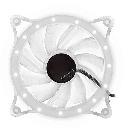 gostcai Ventilador de refrigeración para PC de 120 mm, Mini radiador de refrigeración silencioso Halo LED, Enfriador de Ordenador con reducción de Ruido con Estuche Transparente(Blanco)