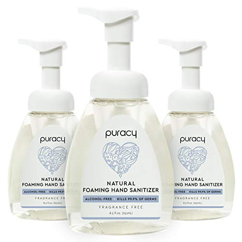 Puracy Foaming Hand Sanitizer, Kills 99.9% of Germs, Alcohol-Free, Hypoallergenic, Nontoxic, 8.5-Ounce (3-Pack)