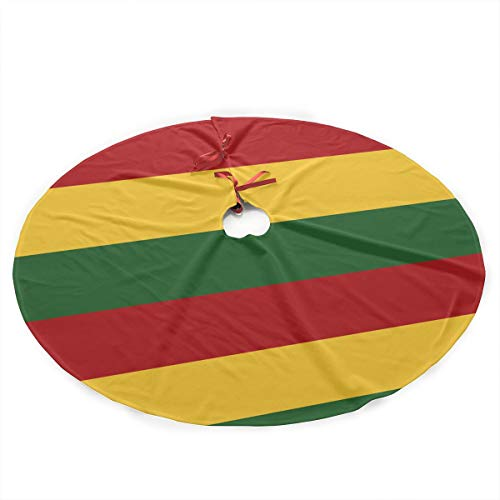 35.5' Christmas Tree Skirt - Rasta Flag Xmas Tree Skirt Holiday Decoration