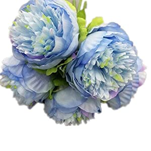 Artificial and Dried Flower one European Silk Peony Flower (5 Head/Bouquet) Simulation Peony Ranunculus asiaticus for Wedding Decorative Artificial Flowers – ( Color: Blue )