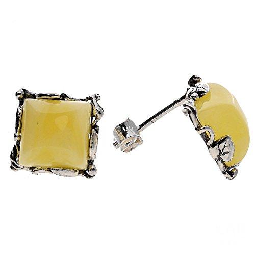 Crema ambra baltica orecchini a perno in argento Sterling 925.kab-114