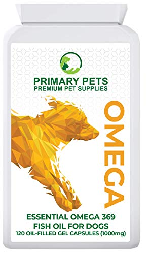 Primary Pets Premium Pet Supplies Omega Fish Oil for Dogs. Pack of 120 1000mg Gel Capsules. Omega 3 6 9 for Dry Skin, Allergies, Stiff Joints and Brain function