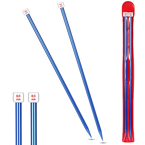 2 Pieces/ 1 Pair Aluminum Straight Knitting Needles, 14 Inch Color Single Point Knitting Needles, Extra Long Sweater Needles for DIY Knitting Projects (8)