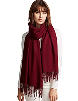 MaaMgic Women s Super Soft Pashminas Wraps Solid Color Scarf Warm Shawls For Wedding Party Burgundy One Size Large