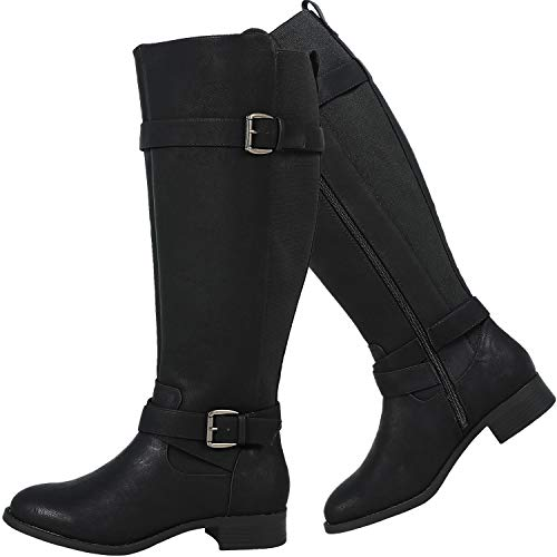 Luoika Women's Wide Width Knee High Boots Extra Wide Calf Winter Boots.(190503,Black,12XW