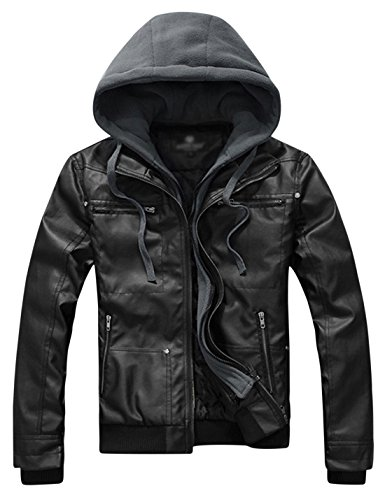 Springrain Men's Casual Slim Removable Hood Faux Leather Jackets (Large, Black)