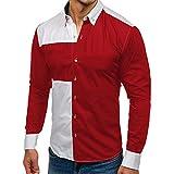 Camicia da uomo per il tempo libero Henley Regular Shirt 2019, da uomo, abbigliamento casual con maniche lunghe, maglia patchwork con bottoni, camicie in pizzo, taglie M-3XL rosso Colore: rosso XXL