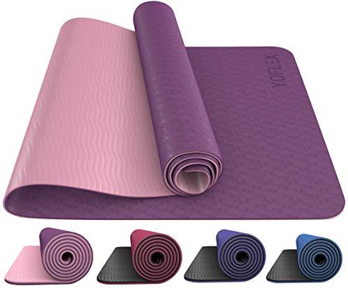HEGG Profi Yogamatte | Gepolstert & rutschfest | YOFLEX | Gymnastikmatte für Yoga, Pilates, Sport, Gymnasik und Training (Lila/Pink)