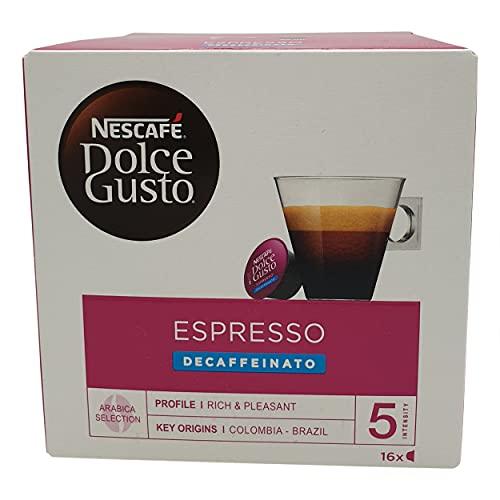 Nescafé Dolce Gusto Espresso Decaffeinato, Entkoffeiniert, Kaffee, Kaffeekapsel, 16 Kapseln