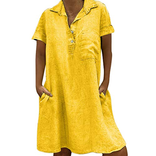 BHYDRY Vestido de Manga Larga por Encima de la Rodilla Vestido Suelto por Encima de la Rodilla Vestido Suelto para Mujer(Amarillo,XXX-Large)