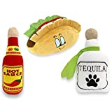 Baja Ponchos 3 Pack Fiesta Dog Chew Toy - Mexican Squeak Plush Toys - Dog Gifts for Chihuahuas - Taco - Tequila - Hot Sauce