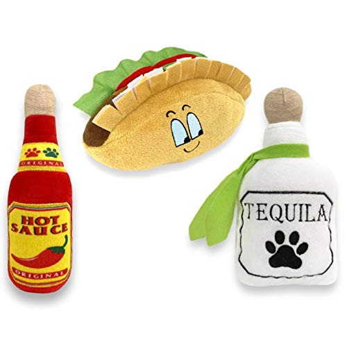 3 Pack Fiesta Dog Chew Toy - Mexican Squeak Plush Toys - Dog Gifts for Chihuahuas - Taco - Tequila - Hot Sauce