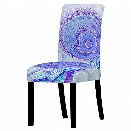 GVJKCZ Fundas para sillas,Flores Redondas Creativas Azules y moradas. sillas Elásticas y Modernas Funda Asiento...
