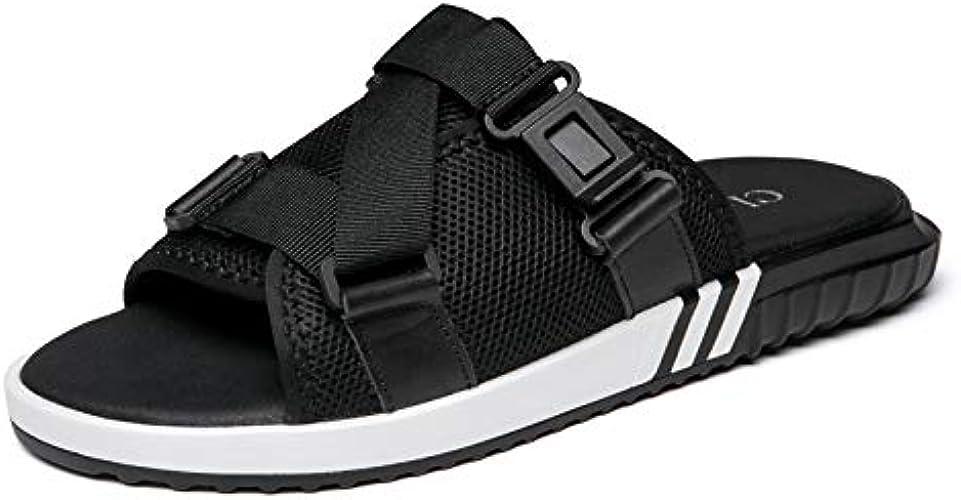 Shukun Tongs Hommes Pantoufles d'été pour Hommes en Plein air sur la Plage, Chaussures pour Hommes Personnalité Porter des Sandales