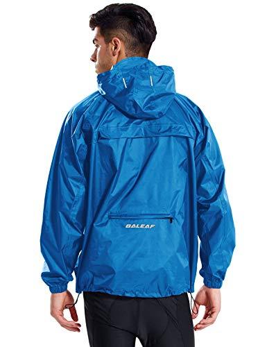 BALEAF Unisex Regenjacke Einpackbar Wasserdicht Wetterschutz Jacke mit Kapuze Poncho Regenmantel Blau S