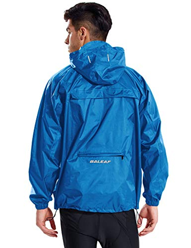 BALEAF Men's Waterproof Cycling Running Rain Jacket with Hooded Lightweight Packable Raincoat Biking Hiking Windbreaker Blue Size XL