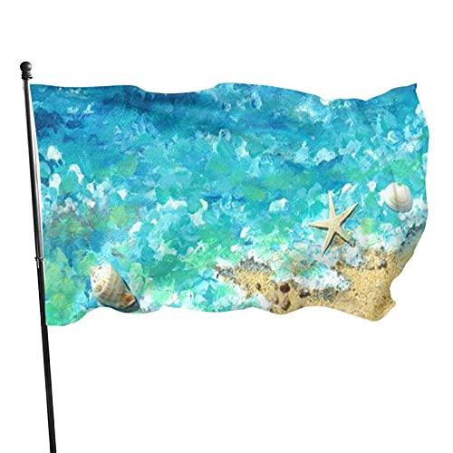 GOSMAO Bandera de jardín OLI Pintura Estrella de mar Color Vivo y Resistente a la decoloración UV Bandera de Patio Cosida Doble Bandera de Temporada Banderas de Pared 150X90cm