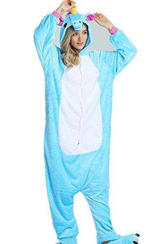 Kenmont Erwachsene Schlafanzug Tier Pyjama Damen Nachthemd Nachtwäsche Cosplay Kostüm Jumpsuit Karneval (XL, Blau)