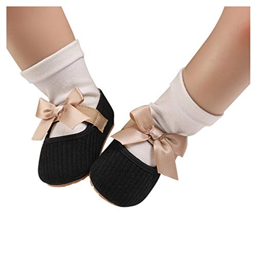jkhhi Newborn Toddler Infant Baby Girls Bowknot Ribbon Strappy Soft Sole Shoes First Walking Shoes Cute Princess Shoes(Black,12)