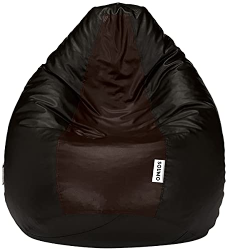 Amazon Brand - Solimo XXXL Bean Bag Filled With Beans (Black and Brown)