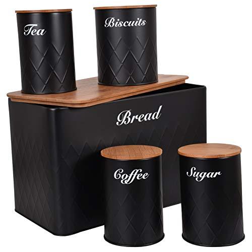 HOCHSTE Kitchen Storage Tins 5pcs Canister Set Bamboo Lid Bread Bin Tea Coffee Sugar Jar Round Jar Black Medium (15cm High)