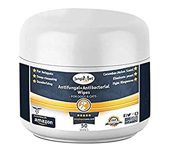 Jungle Pet Antifungal + Antibacterial Medicated Wipes for Dogs & Cats - with Ketoconazole & Chlorhexidine - for Hot Spots Ring Worm Itch & Irritation pink  JP1004