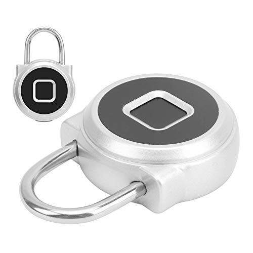 Smart Lock, 110mAh Lithium Battery USB Rechargeable IP67 Waterproof Two Ways To Unlock Fingerprint Lock with LED Indicator for Home Security(Silver)