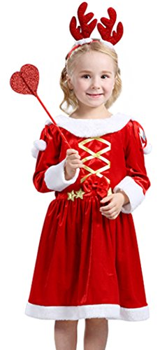 EOZY-Costume Bambina Renna Fata Natale Travestimenti Velluto Abito Rosso Spettacolo Festa Vestito Petto 76cm