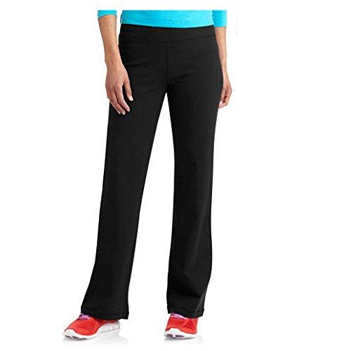 Danskin Now Womens Dri-More Core Bootcut Yoga Workout Pants - Regular or Petite (Large Petite, Black)