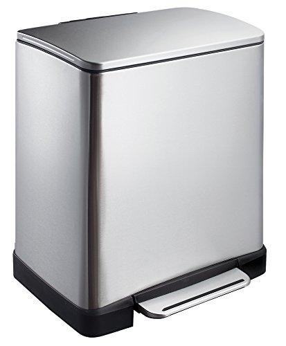 EKO E-Cube Tretmülleimer 10+9L Mülltrenner (32 x 36,6 x 44,5 cm, Dämpfer-System, Fingerabdruck frei, Stay-Open, Abfallbeutelfixierung), matt silber