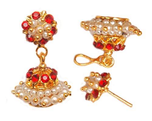 Pahal - Pendientes tradicionales de oro Jhumka con perlas blancas y rojas del sur de la India Bollywood Kemp templo de la boda para mujer