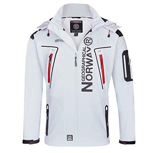 Geographical Norway Herren Softshell Funktions Outdoor Jacke wasserabweisend im Bundle mit urbandreamz Beanie (5XL, White TN)