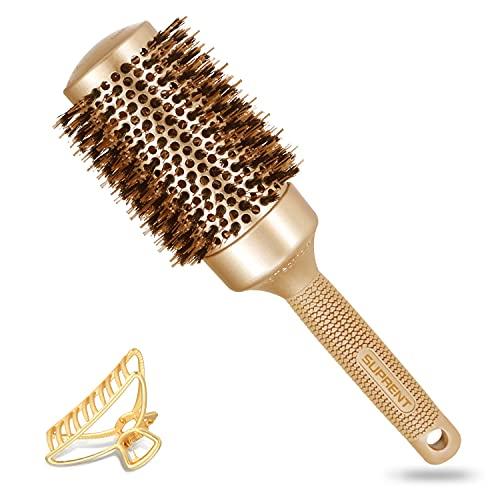 Round Brush SUPRENT Round Brush with Natural Boar Bristles,Nano Thermic Ceramic Coating & Ionic...