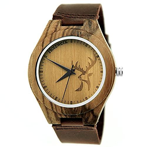 Handgefertigte Holzwerk Germany ® Designer Hirsch Öko Unisex Damen-Uhr Herren-Uhr Öko Natur Holz-Uhr Leder Armband-Uhr Analog Klassisch Quarz-Uhr in Braun mit Hirschmotiv (Hirsch-Braun-Unisex)