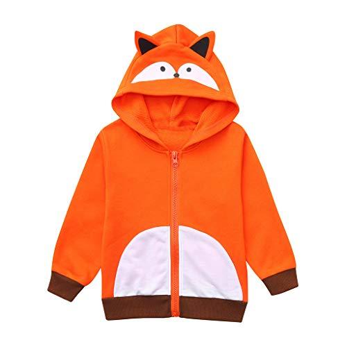 TOPKEAL Unisex Jungen Mädchen Baby Hoodie Kinder Langarm Cartoon Fuchs Sweatshirt Jacke Mäntel Pullover Pulli Strickjacke Kapuzenpullover Tops T-Shirts Blusen (Orange, 120)