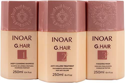 INOAR PROFESSIONAL - G-Hair Keratin Smoothing System with Deep Cleansing Shampoo, Anti-Volume Treatment & Finishing Mask (8.45 fl. oz.)