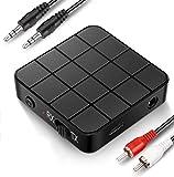 Adaptador Bluetooth transmisor receptor Bluetooth 5.0 2 en 1 adaptador Bluetooth mini portátil RCA & 3,5 mm AUX compatible con sonido HD de baja latencia para PC, TV, smartphone, tablet